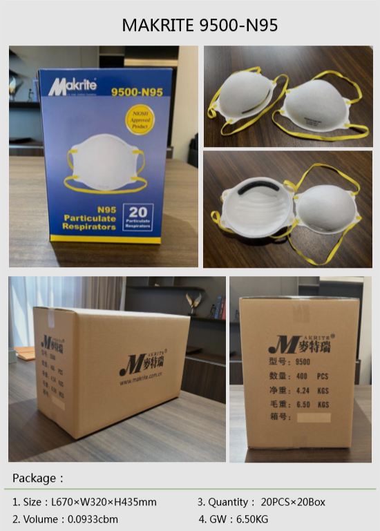 37403 - Makrite N95 Disposable Face Mask 9500 China